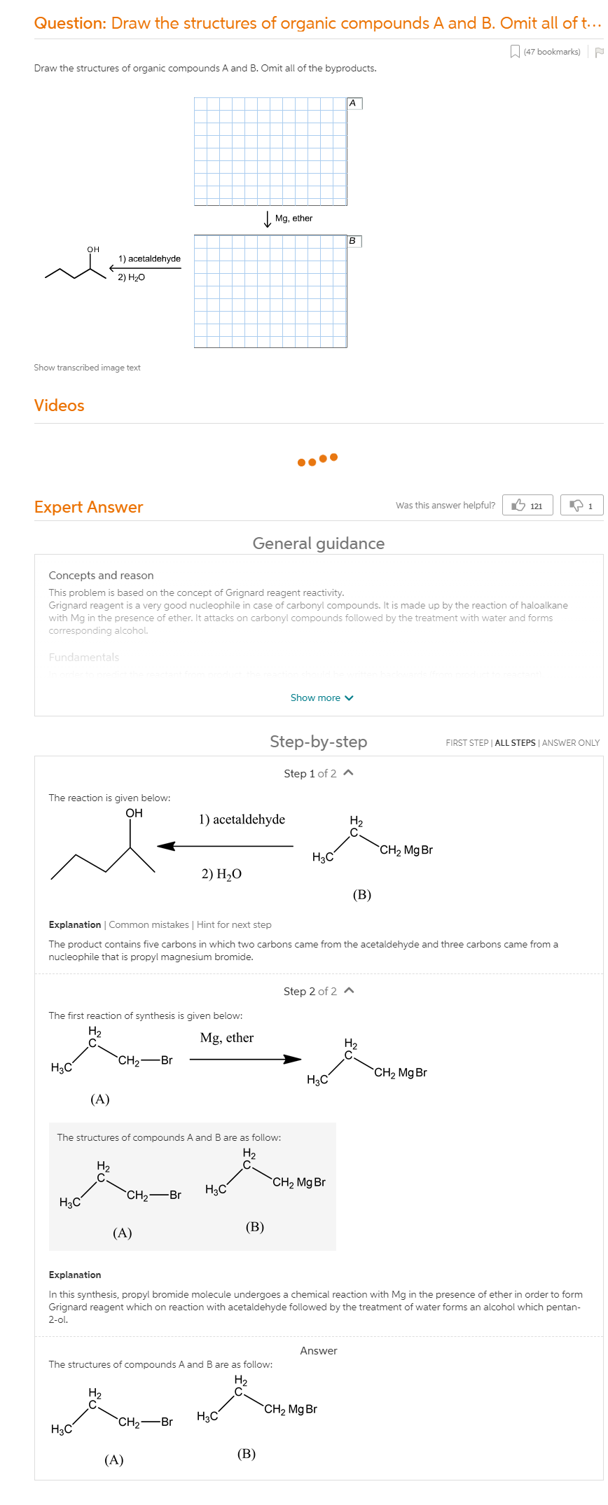 Draw The Structures Of Organic Compounds A And B. Omit All Of The  Byproducts.