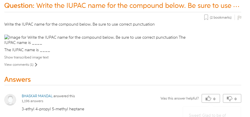 Write The IUPAC Name For The Compound Below. Be Sure To Use Correct  Punctuation The IUPAC Name Is ____