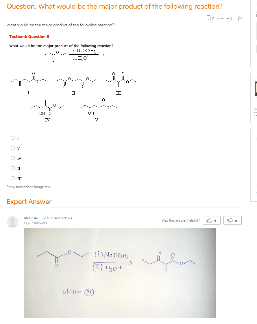 What Would Be The Major Product Of The Following Reaction?